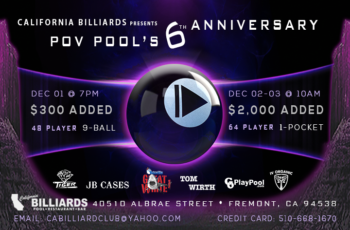 California Billiards To Host POV Pool's 6th Anniversary Event