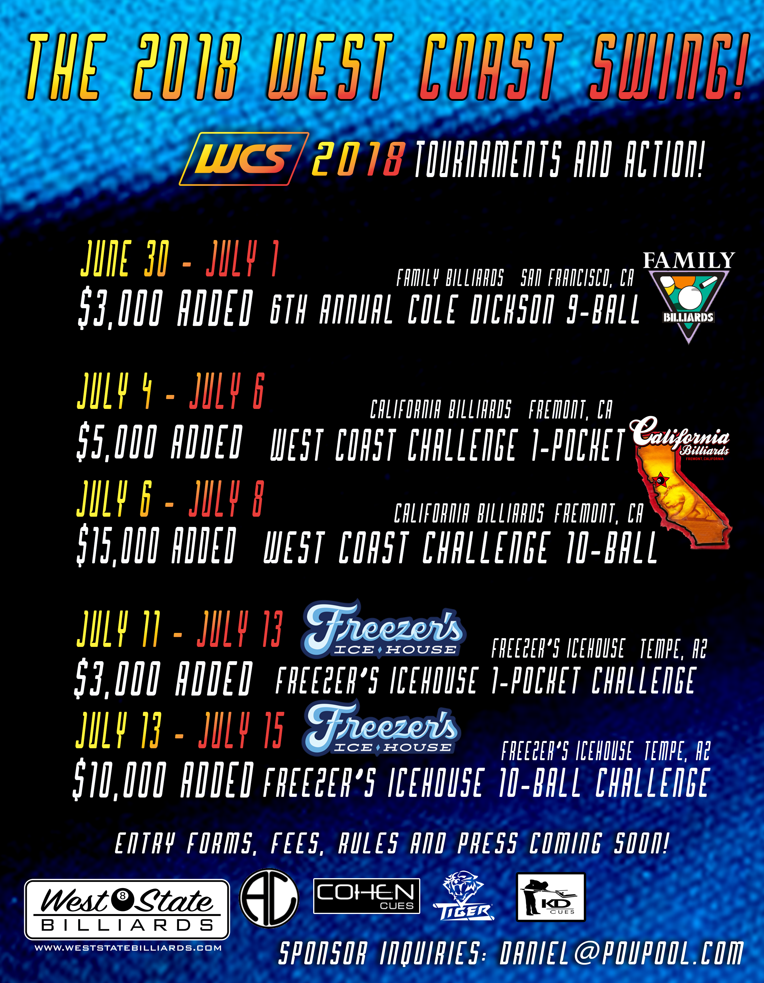 The 2018 West Coast Swing Of Pool Tournaments And Action: Dates And Venues!
